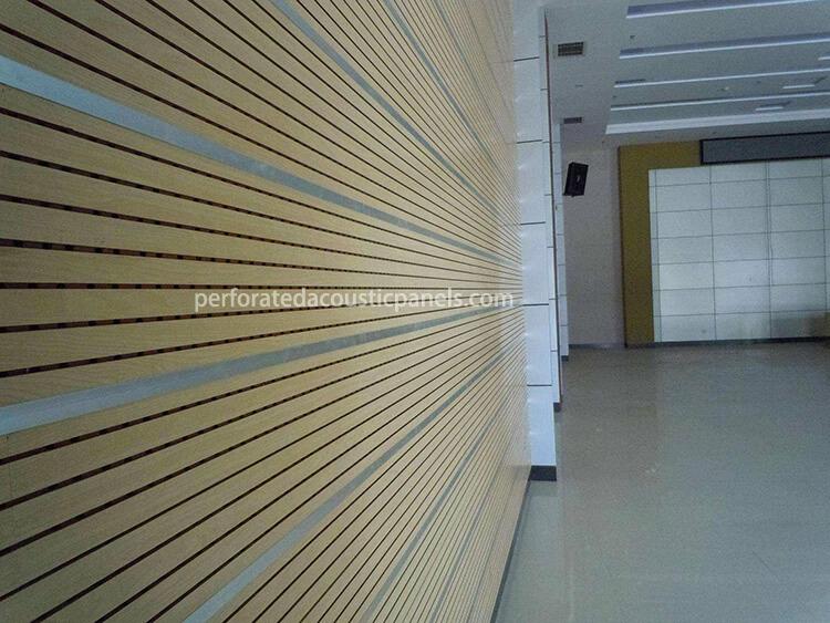 Timber Veneer Acoustic Panel Grooved Wood Wall Panel Grooved Panel Board